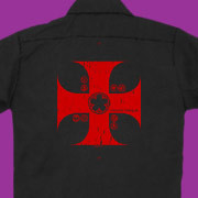 The cross of the Knights Templar on a stylish work shirt.