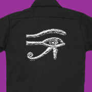 The ancient symbol of power on a work shirt.