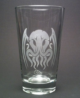 Etched beer glass with our Tribal Cthulhu tattoo design.