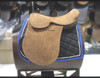 American Style Polo Saddle All suede. Light brown. Three buffalo billets. Safety stirrups bars.