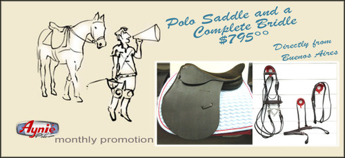 Set of 1  American Style Polo Saddle / Suede Seat + 1 Complete Polo Bridle, ( Gag or Pelham.)
