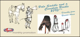 Set of 1 All Suede American Style Polo Saddle + 1 Complete Polo Bridle, ( Gag or Pelham.)
