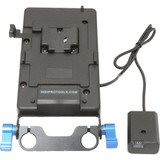 IndiPRO Tools V-Mount Plate with NP-FW50 Dummy Battery (15mm Rod Bracket)