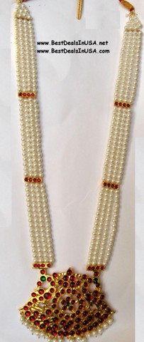 Long chain with 4 strands of artificial pearls.