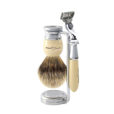 "Edwin Jagger ""The Riva Collection"", 3pc set imitation ivory, Mach 3 razor, shaving brush (best badger) and stand"