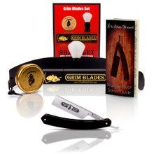 Grim Blades Square Tip Straight Razor In Black Acrylic Scales and Luxury Kit
