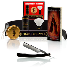"Black Best Quality 6/8"" Razor with Luxury Shave Set"