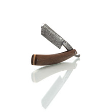 "DJH Custom  6/8"" Straight Razor - With Finished Walnut Wood Scales and Faux Damascus Etching - Made in America"