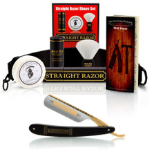 "Ebony Bismarck 6/8"" Razor with Luxury Shave Set"