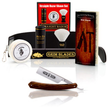 Grim Blades Square Tip Straight Razor In Exotic Rosewood Scales and Luxury Kit