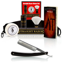 "Dovo Black Best Quality 5/8"" Razor with Luxury Shave Set"