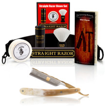 "Dovo ""Bergischer Lowe"" Buffalo Horn 5/8"" Straight Razor with Luxury Shave Set"