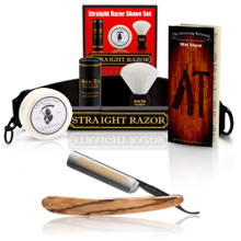 "Dovo ""Inox"" Olive Wood 5/8"" Straight Razor with Luxury Shave Set"