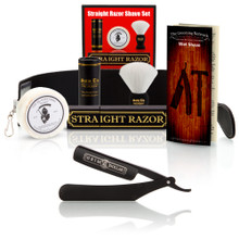 Black Grim Dollar Straight Razor In Black Stainless Scales And Luxury Set
