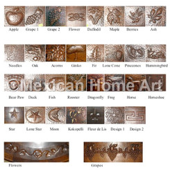 Array of Hand Hammered Copper Back Splash or Sink Motifs