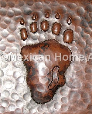 Copper Tile Bear Paw Motif