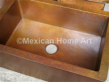 Copper Patina/ Cafe single well farmhouse sink with apron 3.5 inch drain hole