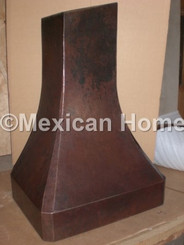 Custom Hand Hammered Copper Range Hood Wall Mount in Somber Patina for GS