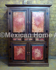 Custom Copper Cabinet Panel with without motif Old Natural Patina