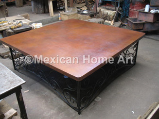 "Hand Hammered Copper Coffee Table 48 inch square with Hand Forged Wrought Iron ""Hearts"" base for MR"