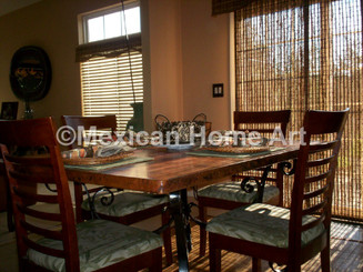 """Copper Dining Table Square in Natural patina with Hand Forged Wrought Iron base """"Florencia"""" for RN"""