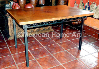 "Handcrafted Copper Rectanbgular Dining Table in Natural Patina on a Hand Forged Base ""Marianna"" for MB"