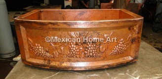 "Hand Hammered 33x22x10 Copper Single Well Farmhouse with Sink Rounded Front and a Custom ""Grapes"" Design"