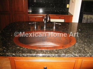Copper Bar/Prep Sink Oval 26.5x17.75x7 in Somber Patina installed