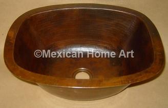Copper Bar/Prep Sink Rectangular 17X12X7 in Natural Patina
