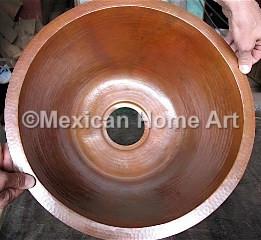 Copper Bar/Prep Sink Round 18X8 in Cafe Patina