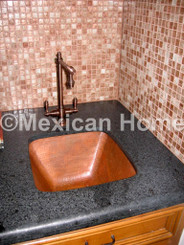 Copper Bar/Prep Sinks Testimonials, Shown Copper Bar Sink Square 15x15x7 in Cafe Patina