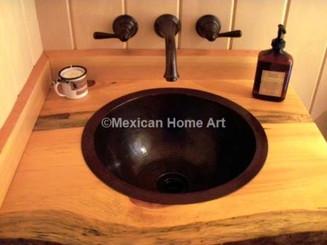 Copper Sink Bathroom Drop-in Under-Mount Round 15X6 installed