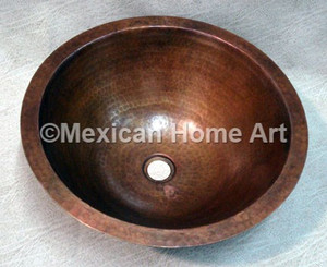 Copper Sink Bathroom Drop-in Under-Mount Round 15X6 in Natural Patina