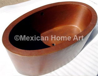 Copper Bathtub Oval Double Wall 64x36x24 in Cafe Patina