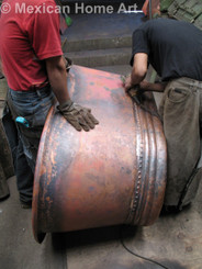Copper Double Slipper Bathtub 66x33 with Rings in Somber Patina being finished