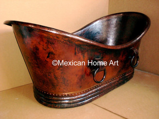 Copper Double Slipper Bathtub 66x33 with Rings in Somber Patina