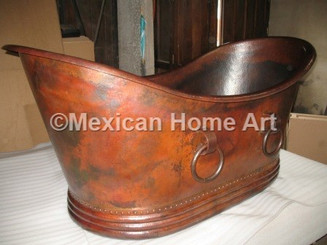 Copper Double Slipper Bathtub 72x35 with Rings in Somber Patina