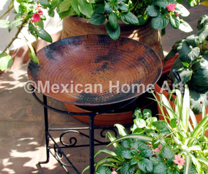 "Copper Birdbath 18"" shown in Natural Patina"