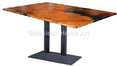 """Copper Breakfast Table 36"""" Shown in Natural Patina 'Dexter' with rectangular top"""
