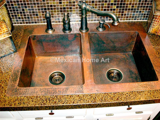"Copper Drop-In Sink Double Well 33x22x10 w/4"" Back Lip somber patina installed front view"