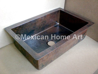 Copper Drop-In Sink Single Well 33X22X10 corner view somber patina
