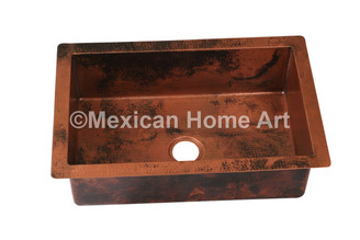 Copper Drop-In Sink Single Well 33X22X10 Old Natural Patina