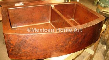 Copper Farmhouse Sink 60/40 Rounded Front 33x22x10 Lowered Divide on double bowl apron sinks, 25 apron front sinks, apron front farm sinks, copper farm sinks with apron, lowe's apron front sinks,