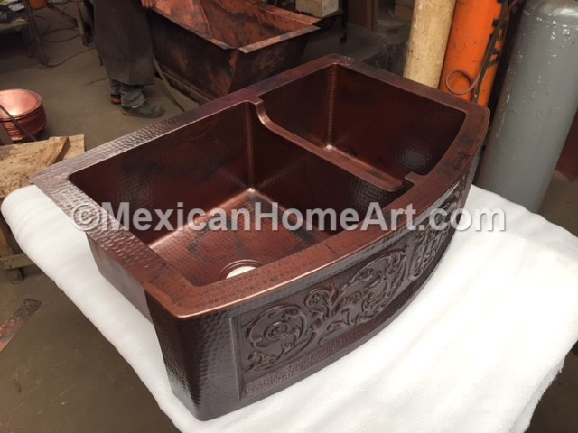 Copper Farmhouse Sink 60 40 Rounded Front 33x22x10 Lowered