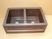 Copper Farmhouse Sink Double Well 50-50 33x22x10 top view