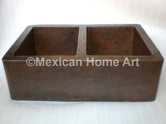 Copper Farmhouse Sink Double Well 50-50 33x22x10