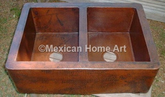 Copper Farmhouse Sink Double Well 50-50 33x22x9