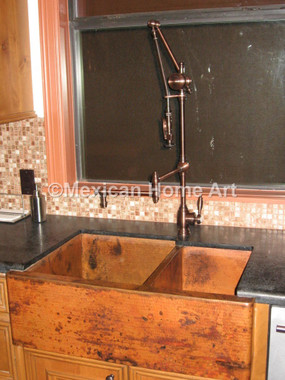 Copper Farmhouse Sink Double Well 60-40 33x22x10x8 installed