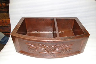Copper Farmhouse Sink Double Well 33x22x10 Rounded Front with Motif