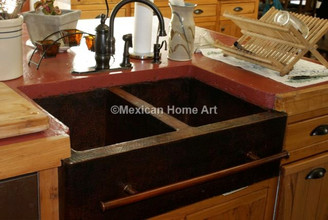 Copper Farmhouse Sink Double Well Towel Bar 33x22x10 installed